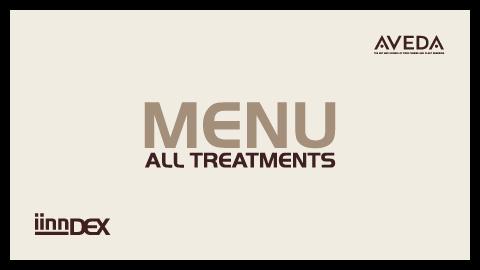 iinn sustainable beauty menu iinndex hair treatments body treatments iinnbetween pricelist amsterdam aveda